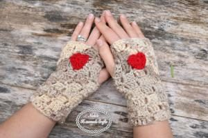 Fingerless Gloves with Heart by Nicole Riley of Nicki's Homemade Crafts