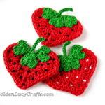 Crochet Heart Strawberry Appliqué by GoldenLucyCrafts