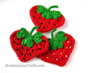 Crochet Heart Strawberry Appliqué by GoldenLucyCrafts