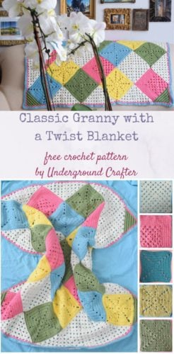 Classic Granny with a Twist Blanket by Marie Segares/Underground Crafter