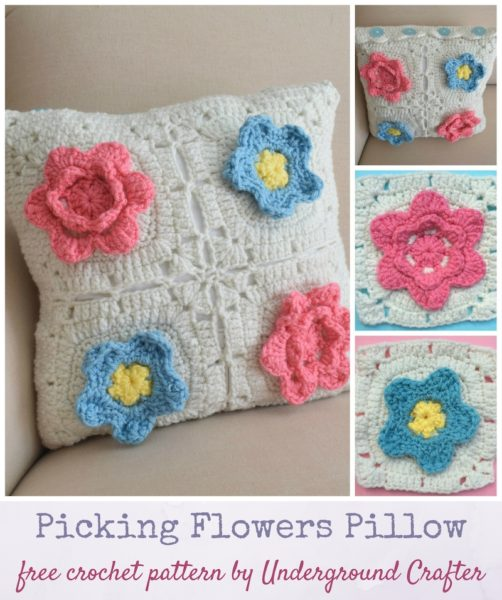 Picking Flowers Pillow by Marie Segares/Underground Crafter