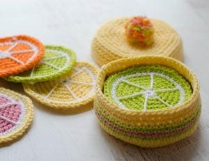 Crochet Citrus Coasters by Crochet 365 Knit Too