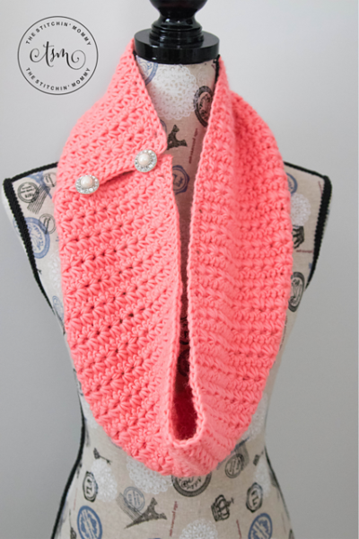Coral Crush Button Infinity Scarf by The Stitchin' Mommy
