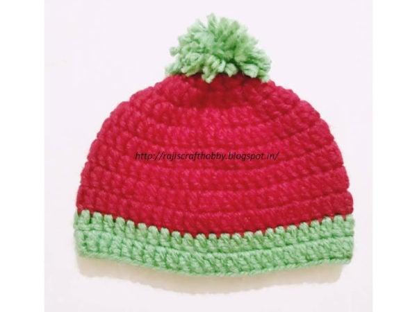 Watermelon Bulky Yarn Baby Hat by rajiscrafthobby