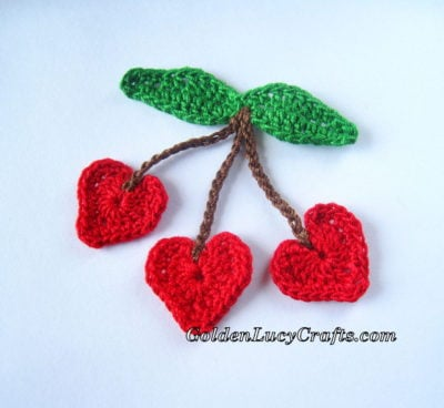 Cherry Hearts Applique by GoldenLucyCrafts