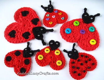 Heart Ladybug Applique by GoldenLucyCrafts
