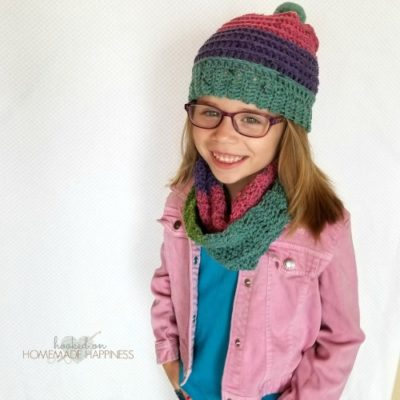 Candy Stripes Hat & Scarf Set by Breann of Hooked on Homemade Happiness
