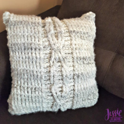 Giant Crochet Cable Pillow by Jessie At Home