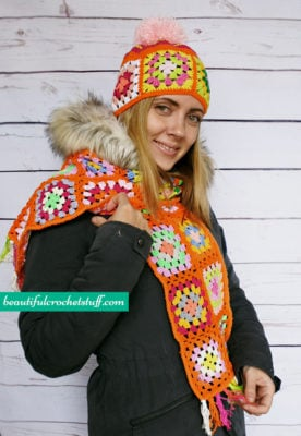 Granny Square Beanie and Scarf by Jane Green of Beautiful Crochet Stuff