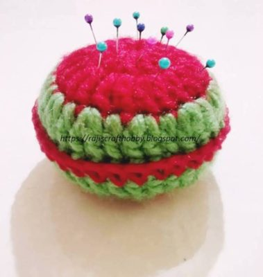 Yummy Watermelon Pincushion by rajiscrafthobby