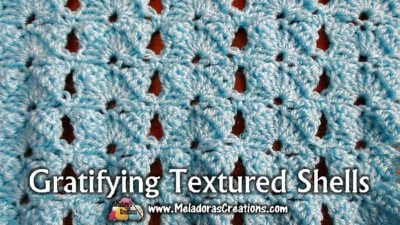 Gratifying Textured Shells Crochet Stitch Tutorial by Meladora's Creations