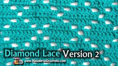 Diamond Lace Crochet Stitch 2 by Meladora's Creations