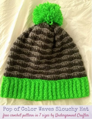 Pop of Color Waves Slouchy Hat by Marie Segares of Underground Crafter