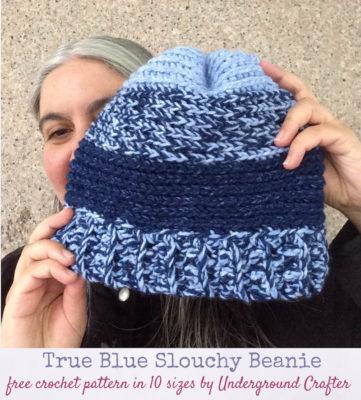 True Blue Slouchy Beanie by Marie Segares/Underground Crafter