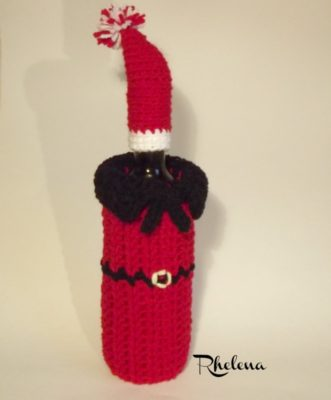 Pretty Simple Santa Wine Bottle Cozy by CrochetN'Crafts