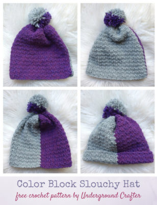 Color Block Slouchy Hat by Marie Segares/Underground Crafter