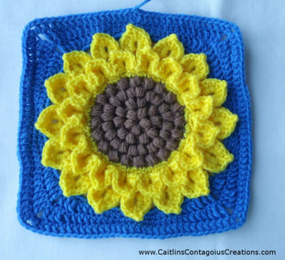 Crocodile Stitch Sunflower Square by Caitlin's Contagious Creations