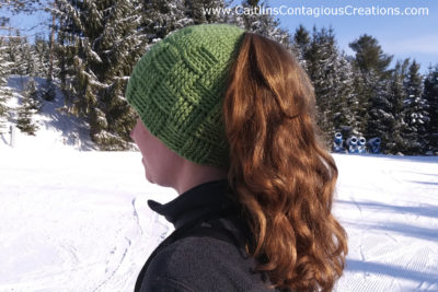 Basket Weave Ponytail Beanie by Caitlin's Contagious Creations
