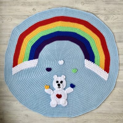 Love Bear Rainbow Baby Blanket by Tonya Bush from Nana's Crafty Home