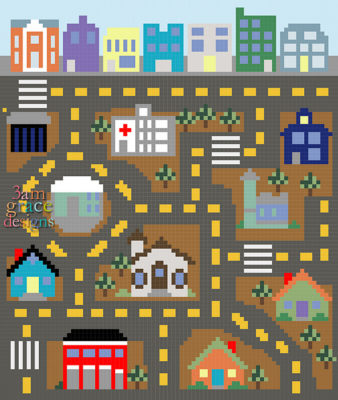 City Play Mat C2C CAL by Donna Beavers - 3amgracedesigns