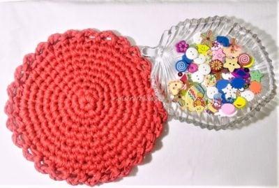 Tshirt Yarn Round Tablemat by Raji's Craft Hobby