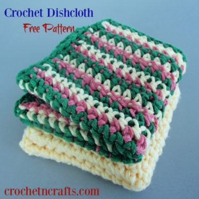 Beginner Crochet Dishcloth Pattern with Striped Option by CrochetNCrafts