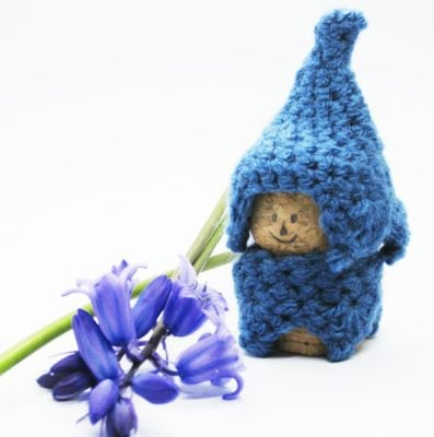 Bluebell Cork Gnome by Cat at Crochet Cloudberry