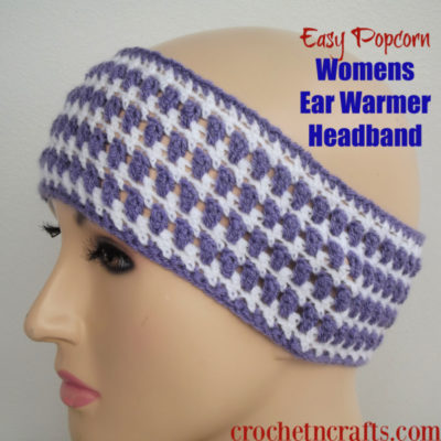 Easy Popcorn Womens Ear Warmer Headband by CrochetNCrafts