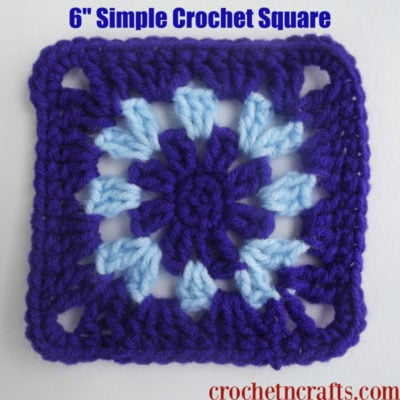 6″ Simple Crochet Square by CrochetNCrafts