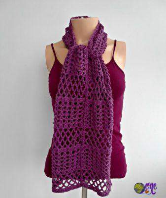 Free Summer Crochet Lace Scarf Pattern by CrochetNCrafts.