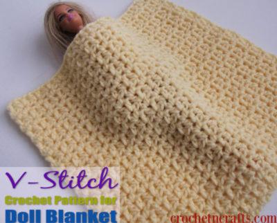 V-Stitch Crochet Pattern for Doll Blanket by CrochetNCrafts
