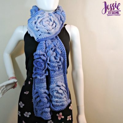Flower Granny Square Bloom Crochet Scarf by Jessie Rayot from Jessie At Home