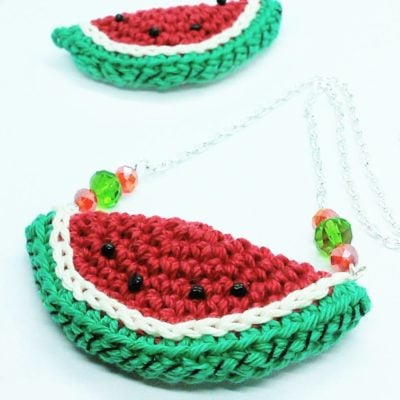 Watermelone Necklace by Crochet Cloudberry