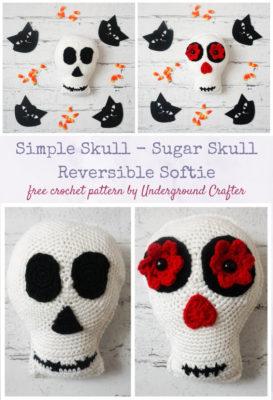 Simple Skull - Sugar Skull Reversible Softie by Marie Segares/Underground Crafter