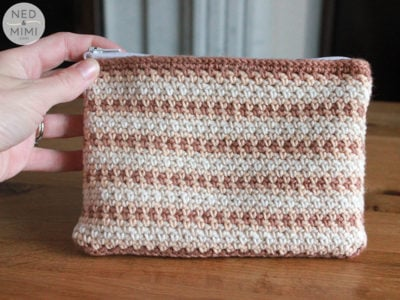 Moss Stitch Zipper Pouch by Sarah Ruane from Ned & Mimi