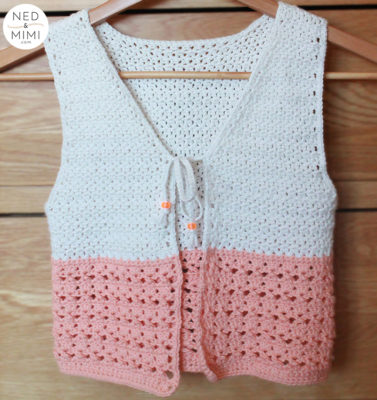 Peaches and Cream Girl's Vest by Sarah Ruane from Ned & Mimi