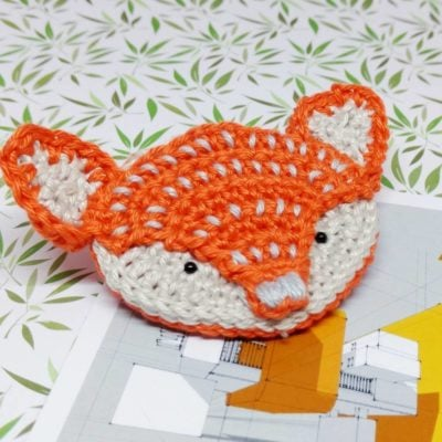 Fox Brooch by Crochet Cloudberry