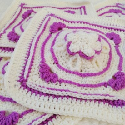 Amethyst Flower Granny Square by Crochet Cloudberry
