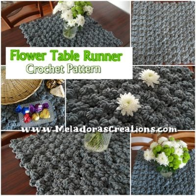 Flower Table Runner Crochet Pattern by Candy Lifshes from Meladora's Creations