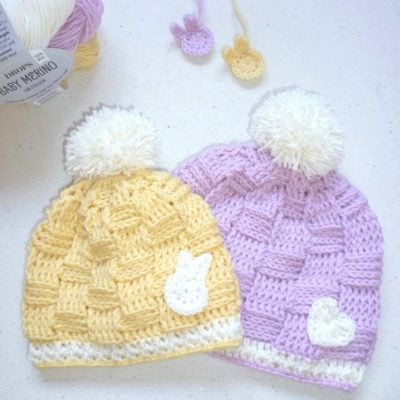 Crochet Basketweave Baby Beanie by RaffamusaDesigns