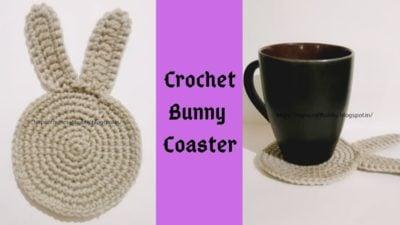 Crochet Bunny Coaster by rajiscrafthobby