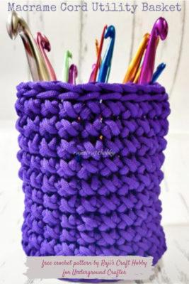 Crochet Macrame Cord Basket by rajiscrafthobby