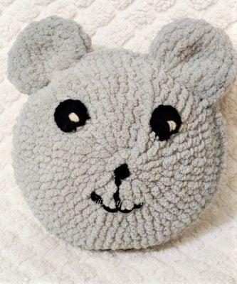 Teddy Bear Crochet Pillow by rajiscrafthobby