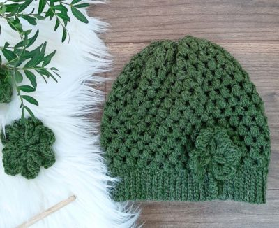 Puff Stitch Hat + Shamrock by Sarah Ruane from Ned & Mimi