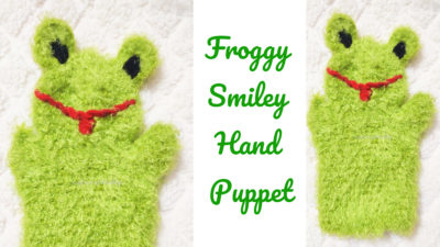 Froggy Smiley Crochet Hand Puppet by rajiscrafthobby