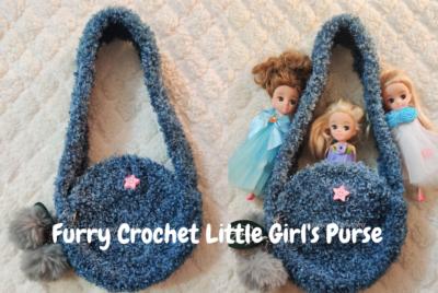 Furry Crochet Little Girl's Purse by rajiscrafthobby