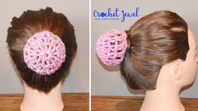 How to Make a Crochet Hair Bun Cover Holder Tutorial by Amy Lehman from Crochet Jewel