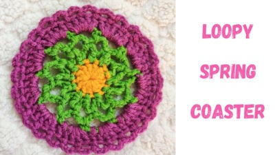Loopy Spring Coaster - Created out of Bulky Yarn Made from One Ball of Light Weight Yarn by rajiscrafthobby