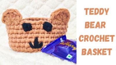 Teddy Bear Crochet Basket by rajiscrafthobby