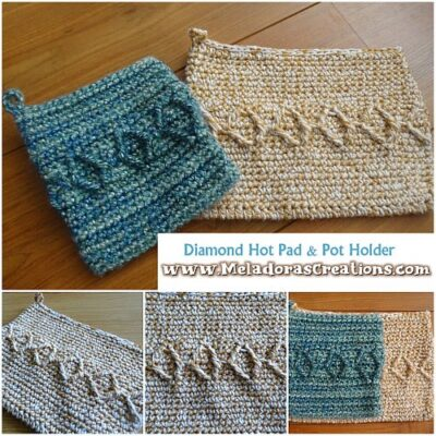 Diamond Hot Pad and Pot Holder by Candy Lifshes